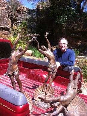 Michael Pavlovsky with 3 of his bronze sculptures
