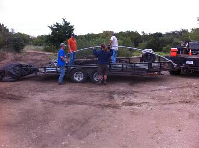 Unloading the greenhouse frame at Chandor Gardens.